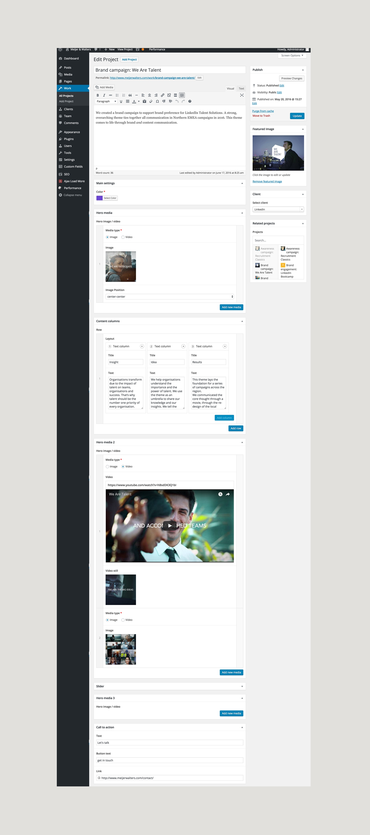 The back-end of the Meijer & Walters Wordpress Theme